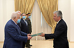 Palestinian President Mahmoud Abbas receives Brazilian Ambassador's credentials at Palestine in the West Bank city of Ramallah on June 16, 2021. Photo by Thaer Ganaim