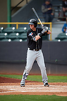 Lansing Lugnuts first baseman Christian Williams (25) at bat during a game against the Clinton LumberKings on May 9, 2017 at Ashford University Field in Clinton, Iowa.  Lansing defeated Clinton 11-6.  (Mike Janes/Four Seam Images)