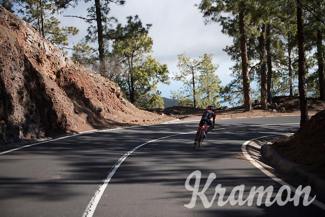 Alberto Contador descending the Tiede Volcano in Tenerife<br /> <br /> january 2017, Tenerife/Spain