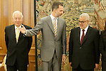 Felipe VI of Spain attends in audience the Head of the Government of the Kingdom of Morocco, Mr. Abdelilah Benkiran (r) and Minister of Foreign Affairs and Cooperation of Spain, José Manuel García-Margallo (l) during their attendance at the High Level Meeting XI Spanish-Moroccan (RAN). June 4,2015. (ALTERPHOTOS/Acero)