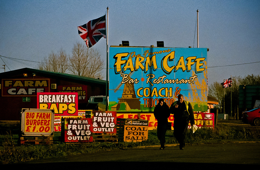 Factory workers start the early morning shift, Fleet Hargate,Lincolnshire, UK.