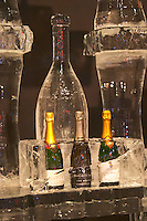 An ice bar with champagne coolers in pure ice. At Vinordic. Bollinger, Billecart-Salmon, Launois. At the Vinordic wine trade show. Stockholm. Sweden, Europe.