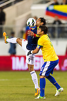 Falcao Garcia (9) of Colombia and Thiago Silva (3) of Brazil. Brazil (BRA) and Colombia (COL) played to a 1-1 tie during international friendly at MetLife Stadium in East Rutherford, NJ, on November 14, 2012.
