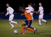 Connor Klekota (3) of Notre Dame fights for the ball with Jordan Allen (8) of Virginia during the ACC tournament semifinals at the Maryland SoccerPlex in Boyds, MD.  Virginia advanced to the finals after tying Notre Dame, 3-3, in overtime and then defeating them on penalty kicks.