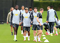 14th September 2021: The  AXA Training Centre , Kirkby, Knowsley, Merseyside, England: Liverpool FC training ahead of Champions League game versus AC Milan on 15th September: Ibrahima Konate of Liverpool warms up with his team mates