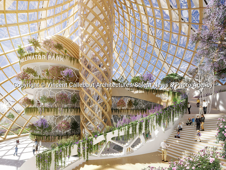 An award-winning architect has unveiled spectacular plans for a 'refugee camp for insects' to be built in 2050 if humanity fails to protect nature.  Vincent Callebaut revealed the futuristic project called Pollinator Park in collaboration with The European Commission to raise awareness as a 'powerful wake-up call to humanity'.<br /> <br /> The world renowned 'Archibiotect's' project includes areas called 'Miro's Meadow', the 'Hungry Hive', the 'Urban Lab' and the 'Zoom Room' - all of which offer an 'oasis of sustainable food production with pollinators as the main source'.  The Belgian's 'virtual universe set in the future' was inspired by pollination and the sexual reproduction method of plants with 'Central Park' symbolising female organs.  SEE OUR COPY FOR DETAILS.<br /> <br /> Please byline: Vincent Callebaut Architectures/Solent News<br /> <br /> © Vincent Callebaut Architectures/Solent News & Photo Agency<br /> UK +44 (0) 2380 458800