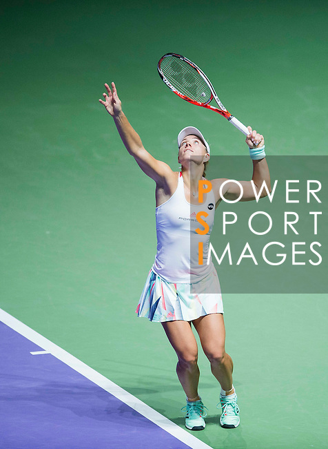 Angelique Kerber (GER) vs Simona Halep (ROU) during the BNP Paribas WTA Finals Singapore presented by SC Global at the Indoor Stadium on 25 October 2016 in Singapore. Photo by Victor Fraile / Power Sport Images