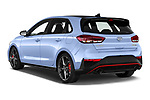 Car pictures of rear three quarter view of 2021 Hyundai i30 N-Performance 5 Door Hatchback Angular Rear