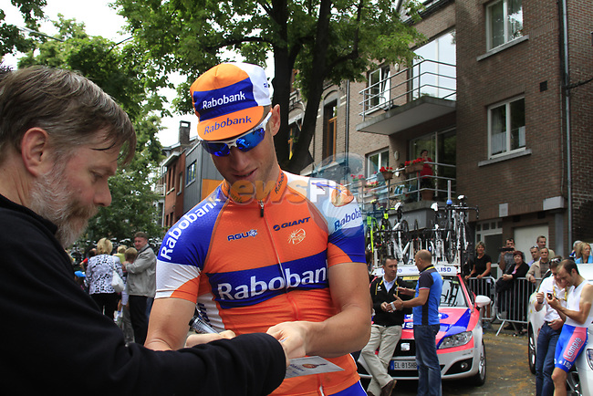 Mark Renshaw (AUS) Rabobank at sign on before the start of Stage 2 of the 99th edition of the Tour de France 2012, running 207.5km from Vise to Tournai, Belgium. 2nd July 2012.<br /> (Photo by Eoin Clarke/NEWSFILE)