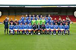St Johnstone FC Season 2011-12.Back row from left, Cillian Sheridan, Sam Parkin, Mark Durnan, David McCracken, Frazer Wright, Steven Anderson, Francisco Sandaza and Marcus Haber..Middle row from left, Gordon Marshall (Goalkeeping Coach), Alec Cleland (Youth Coach), Tommy Campbell (Youth Development Manager), Graham Gartland, Carl Finnigan, Murray Davidson, Alan Mannus, Peter Enckelman, Zander Clark, Jamie Adams, Liam Craig, Graham Kirk (Coach), Atholl Henderson (Coach), Jocky Peebles (Asst Physio) and Frank Kenny (Physio)..Front row from left, Liam Caddis, Alan Maybury, David Robertson, Kevin Moon, Jody Morris, Derek McInnes (Manager), Billy Murphy (EasyHeat), Tony Docherty (Asst Manager), Dave Mackay, Chris Millar, Callum Davidson, Sean Higgins and Stevie May..Picture by Graeme Hart..Copyright Perthshire Picture Agency.Tel: 01738 623350  Mobile: 07990 594431
