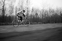 Paris-Roubaix 2013 RECON..Stijn Vandenbergh (BEL) flying over the Arenberg cobbles
