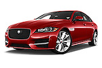 Stock pictures of low aggressive front three quarter view of 2018 Jaguar XF 35t-R-Sport 4 Door Sedan Low Aggressive