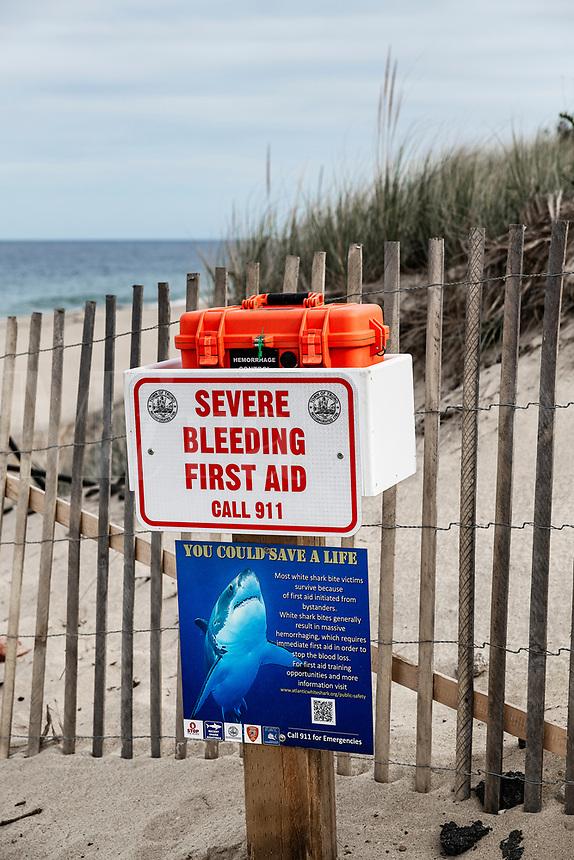 Emergency shark bite kit located at Cape Cod area beaches, Truro, Cape Cod, Massachusetts, USA.