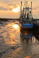 pescherecci in secca nell'estuario dell'Elba a Wremen, germany vessels in the port of Wremen ( Germany) at low tide