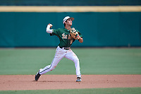 USF Bulls shortstop Nick Gonzalez (2) throws to first base during a game against the Dartmouth Big Green on March 17, 2019 at USF Baseball Stadium in Tampa, Florida.  USF defeated Dartmouth 4-1.  (Mike Janes/Four Seam Images)
