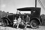 East Brady PA:  Stewart family taking a break during a vacation trip to Lake Erie.  Stewart's were traveling in their 1926 Chevrolet Touring Car.  The route took them from Wilkinsburg to Brady's Bend via Rt 28. Brady Stewart's mother, This vacation was different from many of the others.  Instead of vacationing near North East PA, they decided to vacation on Presque Isle on Lake Erie.