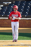 Patrick Marshall (40) of the Radford Highlanders gets ready to bat against the Missouri Tigers at Wake Forest Baseball Park on February 21, 2014 in Winston-Salem, North Carolina.  The Tigers defeated the Highlanders 15-3.  (Brian Westerholt/Four Seam Images)