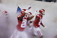 Arkansas players run out onto the field, Saturday, November 7, 2020 during a football game at Donald W. Reynolds Razorback Stadium in Fayetteville. Check out nwaonline.com/201108Daily/ for today's photo gallery. <br /> (NWA Democrat-Gazette/Charlie Kaijo)