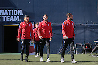 San Diego, CA - Sunday January 29, 2017: USMNT,  Alejandro Bedoya, Steven Birnbaum and Chris Pontius prior to an international friendly between the men's national teams of the United States (USA) and Serbia (SRB) at Qualcomm Stadium.