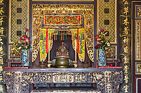 George Town, Penang, Malaysia.  Altar and Deity in Prayer Hall, Khoo Kongsi, a Hokkien Chinese Temple and Clan House.