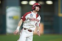 Matt Goodheart (10) of the Arkansas Razorbacks hustles around third base during the game against the Baylor Bears in game nine of the 2020 Shriners Hospitals for Children College Classic at Minute Maid Park on March 1, 2020 in Houston, Texas. The Bears defeated the Razorbacks 3-2. (Brian Westerholt/Four Seam Images)