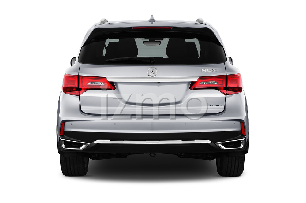 Straight rear view of 2017 Acura MDX Sport Hybrid SH-AWD Advance Package 5 Door SUV stock images