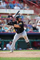 Akron RubberDucks designated hitter Eric Haase (13) at bat during a game against the Erie SeaWolves on August 27, 2017 at UPMC Park in Erie, Pennsylvania.  Akron defeated Erie 6-4.  (Mike Janes/Four Seam Images)