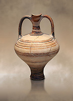 painted Mycenaean two handled jug with a tall neck, Mycenae Chamber Tomb 80, 14th-13th Cent BC.  National Archaeological Museum Athens. Cat no 3228.