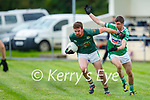 Pat Corridan Finuge gets away from Billy O'Brien Listry during their Junior Premier Championship game in Fr Myles Allman Park Listry on Saturday