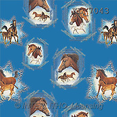Interlitho, Luis, GIFT WRAPS, paintings, horses, blue fond(KL7043,#GP#) everyday