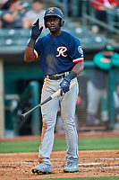 Taylor Trammell (10) of the Tacoma Rainiers at bat against the Salt Lake Bees at Smith's Ballpark on May 13, 2021 in Salt Lake City, Utah. The Rainiers defeated the Bees 15-5. (Stephen Smith/Four Seam Images)
