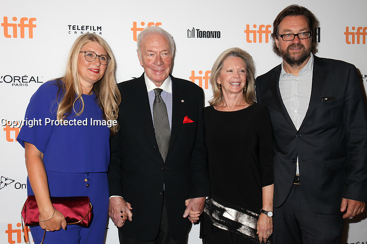 PRODUCER JUDY TOSSELL, CHRISTOPHER PLUMMER AND HIS WIFE AND PRODUCER JENS MEURER - RED CARPET OF THE FILM 'THE EXCEPTION' - 41ST TORONTO INTERNATIONAL FILM FESTIVAL 2016 . 15/09/2016. # FESTIVAL INTERNATIONAL DU FILM DE TORONTO 2016