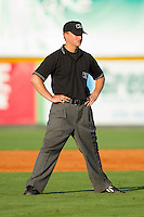 Umpire Garrett Patterson handles the calls on the bases during an Appalachian League game between the Princeton Rays and the Burlington Royals at Burlington Athletic Stadium July 11, 2010, in Burlington, North Carolina.  Photo by Brian Westerholt / Four Seam Images