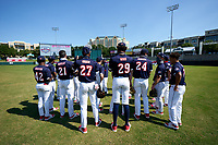 American team meeting before the Baseball Factory All-Star Classic at Dr. Pepper Ballpark on October 4, 2020 in Frisco, Texas.  , a resident of , attends .  (Ken Murphy/Four Seam Images)