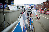 great race by Mathieu Vanderpoel (NLD/BKCP-Powerplus) finishing 2nd, but totally exhausted after the finish line<br /> <br /> GP Mario De Clercq 2014<br /> Hotond Cross<br /> CX BPost Bank Trofee - Ronse