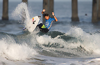 Huntington Beach, CA - Sunday August 06, 2017: Kanoa Igarashi during a World Surf League (WSL) Qualifying Series (QS) Quarterfinal heat in the 2017 Vans US Open of Surfing on the South side of the Huntington Beach pier.