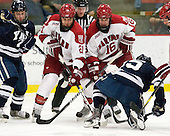 Tommy Fallen (Yale - 22), Marshall Everson (Harvard - 21), Alex Fallstrom (Harvard - 16), Clinton Bourbonais (Yale - 15) - The Harvard University Crimson defeated the visiting Yale University Bulldogs 8-2 in the third game of their ECAC Quarterfinal matchup on Sunday, March 11, 2012, at Bright Hockey Center in Cambridge, Massachusetts.