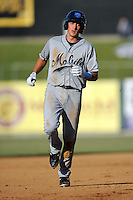 Mobile BayBears shortstop Nick Ahmed #7 rounds the bases after homering in the fifth inning of a game against the Tennessee Smokies at Smokies Park on August 25, 2013 in Kodak, Tennessee. The BayBears won the game 2-0. (Tony Farlow/Four Seam Images)