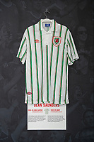 Dean Saunders' 1993/94 Wales away shirt is displayed at The Art of the Wales Shirt Exhibition at St Fagans National Museum of History in Cardiff, Wales, UK. Monday 11 November 2019