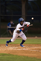 AZL Dodgers right fielder Rolando Lebron (13) bunts during an Arizona League game against the AZL White Sox at Camelback Ranch on July 3, 2018 in Glendale, Arizona. The AZL Dodgers defeated the AZL White Sox by a score of 10-5. (Zachary Lucy/Four Seam Images)