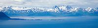 Katmai Coast as approached from Kodiak Island, Katmai National Park, Alaskan Peninsula, Alaska