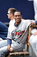 Fort Myers Miracle shortstop Jorge Polanco (5) in the dugout during a game against the Charlotte Stone Crabs on April 16, 2014 at Charlotte Sports Park in Port Charlotte, Florida.  Fort Myers defeated Charlotte 6-5.  (Mike Janes/Four Seam Images)