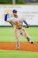 Bluefield Blue Jays second baseman Jorge Vega-Rosado #26 makes a throw to first base against the Elizabethton Twins at Joe O'Brien Field on July 14, 2012 in Elizabethton, Tennessee.  The Twins defeated the Blue Jays 4-0.  (Brian Westerholt/Four Seam Images)