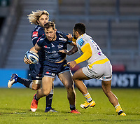 27th December 2020; AJ Bell Stadium, Salford, Lancashire, England; English Premiership Rugby, Sale Sharks versus Wasps; Sam Hill of Sale Sharks is tackled