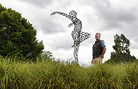 BNPS.co.uk (01202 558833)<br /> Pic: ZacharyCulpin/BNPS<br /> <br /> A picturesque sculpture park in the Dorset countryside has reopened to give people an outdoor escape away from the bustle of the packed beaches.<br /> <br /> Sculpture by the Lakes is a stunning beauty spot six miles from Dorchester and spans 26 acres, giving visitors plenty of room to enjoy the outdoors while remaining socially distanced.<br /> <br /> Owner Simon Gudgeon has more than 30 pieces of his work exhibited throughout the park and has installed two new sculptures for the reopening - 'Swallows' and 'Butterfly'.