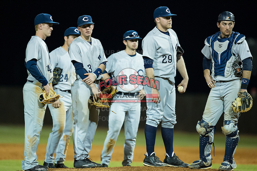 Catawba Indians relief pitcher Heath Mitchem (29) waits with his teammates for the manager to come and make a pitching change during the game against the Belmont Abbey Crusaders at Abbey Yard on February 7, 2017 in Belmont, North Carolina.  The Crusaders defeated the Indians 12-9.  (Brian Westerholt/Four Seam Images)