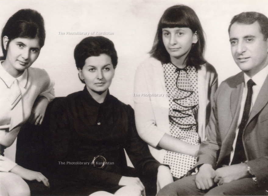 Czechoslovakia 1967 In Pragha, Helen and Abdul Rahman Ghassemlou with their 2 daughters, left, Mina and right, Hiwa  <br /> <br /> Tchecoslovaquie 1967  Helen et Abdul Rahman Ghassemlou avec leurs 2 filles, a gauche, Mina et a droite, Hiwa a Prague