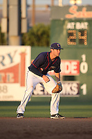Keach Ballard (16) of the Lancaster JetHawks in the field at shortstop during a game against the Visalia Rawhide at The Hanger on July 6, 2016 in Lancaster, California. Lancaster defeated Visalia, 10-7. (Larry Goren/Four Seam Images)