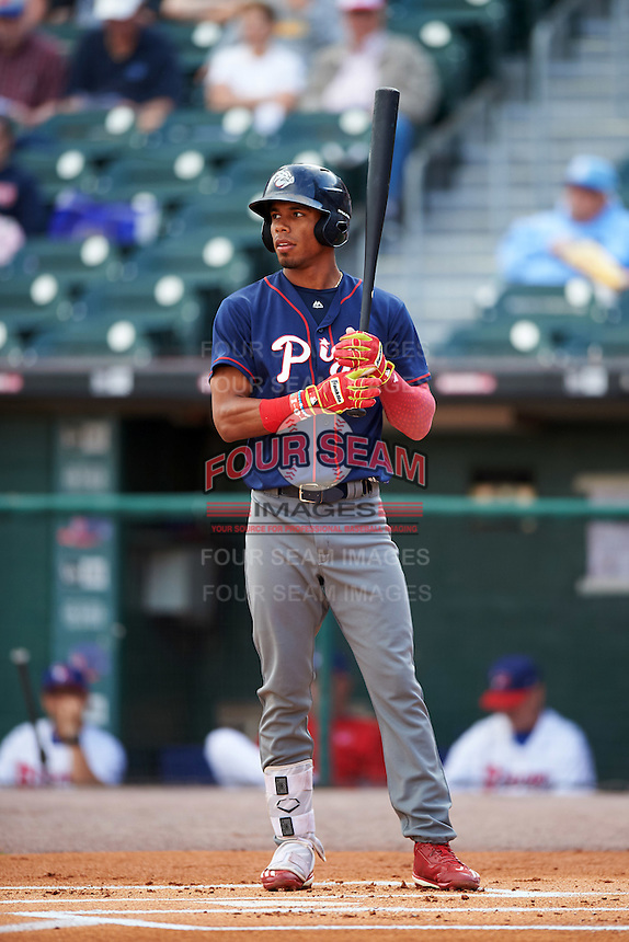 Lehigh Valley IronPigs left fielder Nick Williams (4) at bat during a game against the Buffalo Bisons on July 9, 2016 at Coca-Cola Field in Buffalo, New York.  Lehigh Valley defeated Buffalo 9-1 in a rain shortened game.  (Mike Janes/Four Seam Images)
