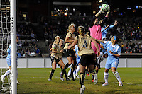 goalkeeper Nicole Barnhart (1) of FC Gold Pride grabs a ball in traffic. Sky Blue FC and FC Gold Pride played to a 1-1 tie during a Women's Professional Soccer match at TD Bank Ballpark in Bridgewater, NJ, on April 11, 2009. Photo by Howard C. Smith/isiphotos.com
